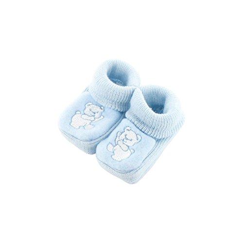 Chaussons pour bébé 0 à 3 Mois bleu - Motif Ours Dansant