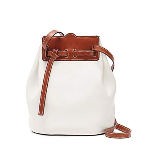 Bucket Tasche Schulter Diagonal Tasche Neuer Weibliche Schlagfarbe Minimalistischer Ledereimer Tasche Korb - Weiß -