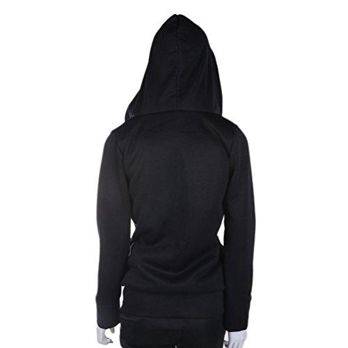 Sudadera con capucha y cremallera de manga larga para mujer Sudadera con capucha y chaqueta de leopardo interior (Color: Negro) (Talla: XL)