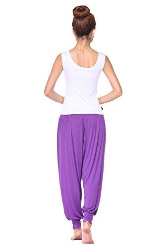 BeautyWill Haremshose Jogginghose Yoga Pilates Hosen Freizeithosen Weiche Modal Hose für Damen Lila Lange