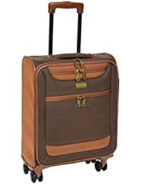 4 Wheel Spinner Soft Faux Suede Suitcase Travel Luggage Lightweight Trolley Boston Brown