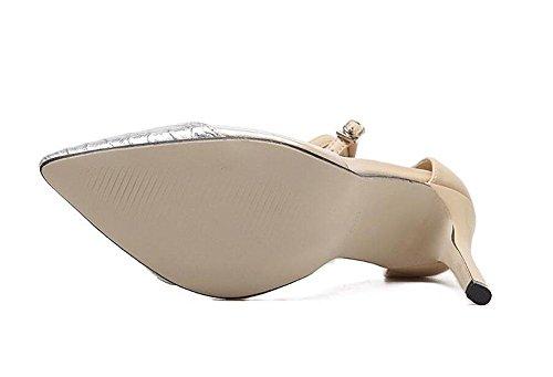SHINIK Damen-Knöchel-Bügel-Pumpe Europa und die Vereinigten Staaten neue kühle transparente Film-Farbe hohle Wölbung wilde spitze high-heeled Schuhe Frauen Sandalen apricot