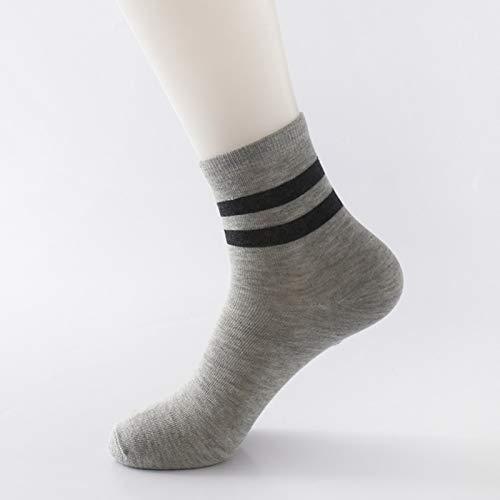 Alvndarling Freizeit Sport absorbierende Socken gestreiften Rohr Socken männlichen Herbst Sportsocken 3 Stück (Farbe : B, größe : 4.5-7.5 UK/37-43 EU) (Rohr Gestreiften Socken)