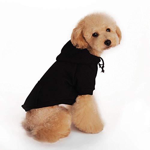 LLYU Perro Gato Sudadera con Capucha de algodón Mascota Abrigo Color sólido Teddy Poodle Chihuahua (Color : Negro, Tamaño : XS)