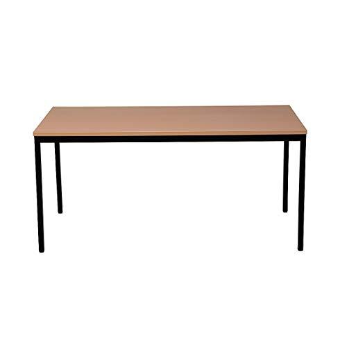 Certeo Bürotisch | Rechteckig | HxBxT 75 x 140 x 70 cm | Schwarz-Buche | Schreibtisch Bürotisch Küchentisch Besprechungstisch Mehrzwecktisch
