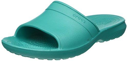 Crocs Classic Slide, Unisex - Erwachsene Sandalen, Blau (Tropical Teal), 39-40 EU (Crocs Damen Strand)