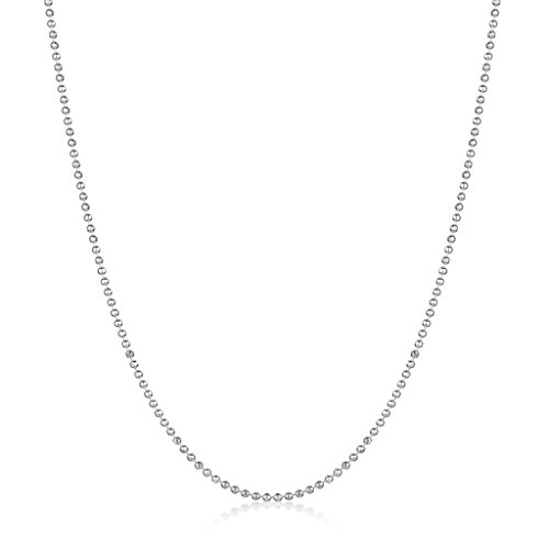 Amberta 925 Sterlingsilber Damen-Halskette – Diamantierte Kugelkette – 1.2 mm Breite – Verschiedene Längen: 40 45 50 55 60 70 80 90 cm - 2