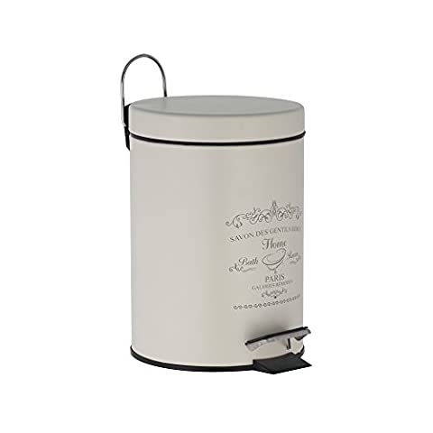 "axentia Cosmetic Bin ""Paris"", Dustbin Stainless Steel as Bathroom Accessory, Waste Bin with 3 Litres Volume, Pedal-Bin For Bathroom, Approx. Diameter 17 x 24.5 cm, Antique"