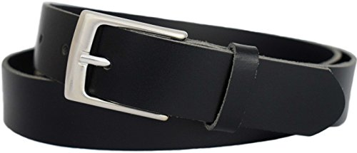 Anzuggürtel schwarz aus einem Stück Leder - Business Gürtel schwarz - Herren Gürtel - Ledergürtel schwarz - Anzug Gürtel schwarz - Businessgürtel - 3cm breit (75 cm Bundweite = 90 cm Gesamtlänge)