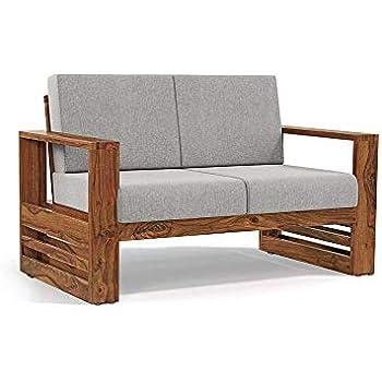 Monika Wood Furniture Sheesham Wood Sofa Set For Living Room Wood Furniture Office Wooden Sofa Set 2 Seater Sofa Grey Cushion Teak Finish