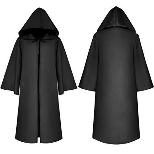 Kostüm Black Robe Kind - yhdcc44 Erwachsene Kinder mittelalterlichen Halloween-Mantel, einfarbig Lange Flare Ärmel mit Kapuze Robe Maskerade Cosplay Kostüm Ritter Gothic Cape