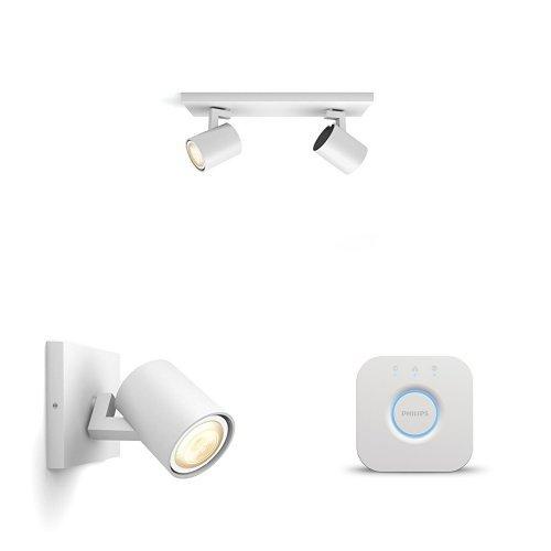 Philips Lighting Hue Bridge 2.0 Controllo del Sistema Hue, Compatibile con Google Assistant + Faretto Singolo Runner Estensione Hue White Ambiance LED Spot GU10 + Hue Bridge 2.0 Controllo del Sistema