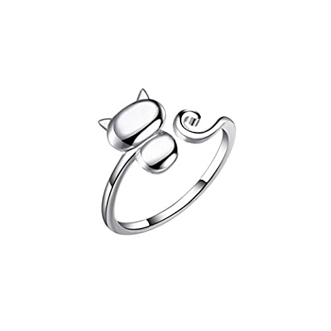 S&E Women's Sterling Silver Cute Cat Finger