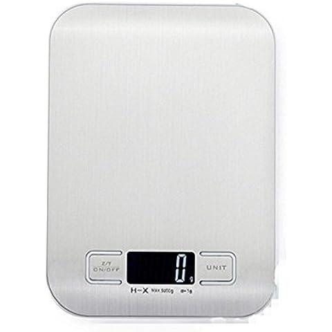SHINA Elegante Báscula Digital de acero inoxidable para Cocina 5kg o 10 kg con pantalla LCD grande (5KG)