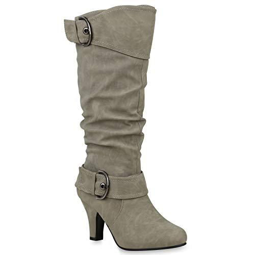 43cd0448c0f6 Warm Gefütterte Stiefel Damen Winter Boots Elegante Schnallen  Trichterabsatz Wildleder-Optik.