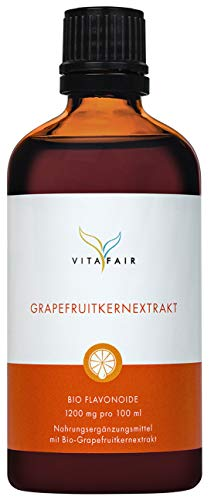 BIO Grapefruitkernextrakt 100ml I 1950 Tropfen I 1200 mg Bioflavonoide pro 100ml I 615µg Bioflavonoide pro Tropfen - Vegan - Made in Germany
