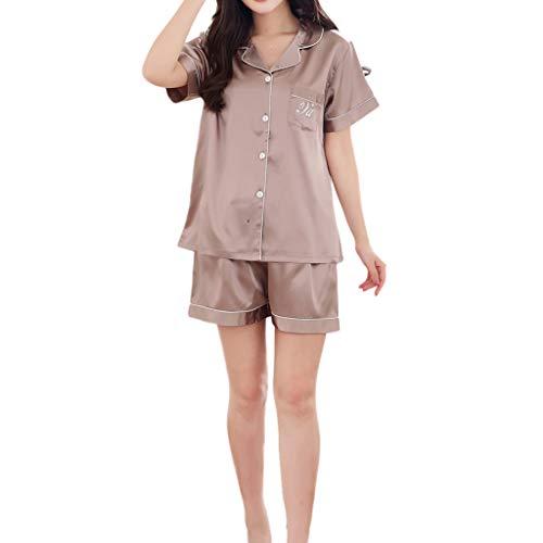 Sleep Lounge Oberteile Unterteile Sets, QinMM Damen Pyjama Set Baumwolle Nachtwäsche Lang und Kurz Button-Down Pj Set - Button-down Pj Set