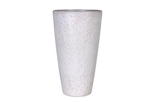 Universal Pflanzgefäß Pflanzenkübel Roto Pebble, frostbeständig und leichtgewichtig, Weiß, 30x52cm