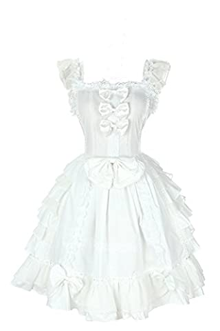 Damen lolita kleider süß ärmellose Lace Bow Dress prinzessin kostuem Maid Cosplay Kostüm Weiß