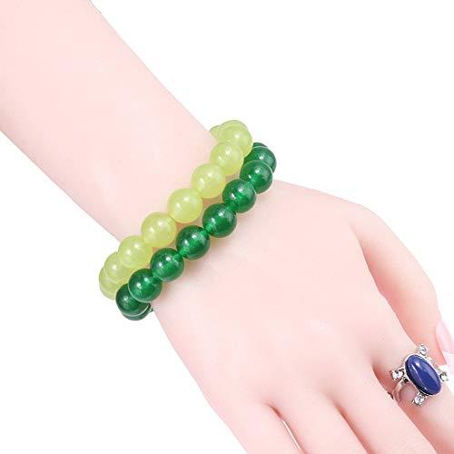 HNOGRG Stein Armband 2 stücke Set naturstein grün chalcedon Yoga gebet armbänder armreifen für Frauen männer schmuck - Jade Armreif Purple
