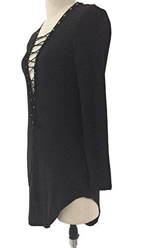 ... V-Kragen Reizvolle Kleid Damen-Mode Shirtkleider Einfarbig  Jugendweihekleid Langarm Blusenkleider Loose Ballkleid Freizeitkleid ...