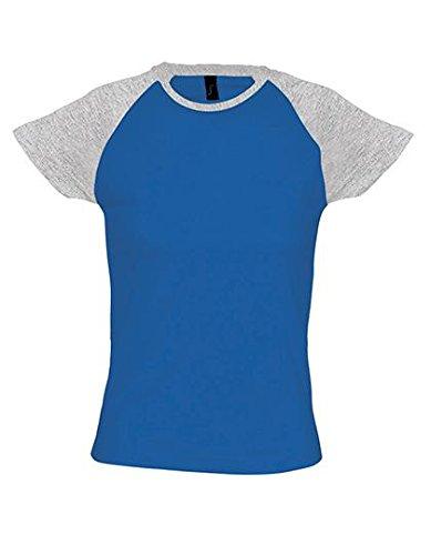 SOLS-MILKY-T-shirt Donna Manica Bicolore Grigio/Blu