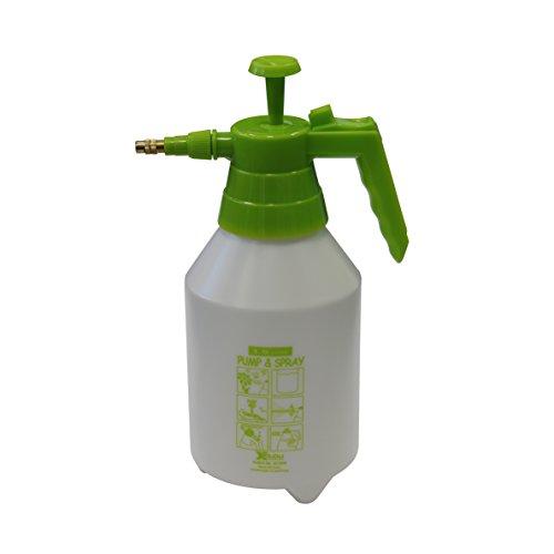 Xclou Pulvérisateur Buse, pulvérisateur à pression, Haute en laiton, jardin Seringue avec récipient en plastique 1,5 l Contenance, vert
