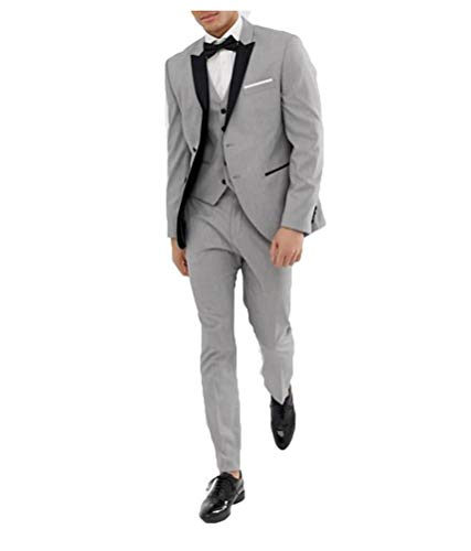 bridalsuits Men 3 Pieces Suits Simple 2 Button Peak Lapel Tuexdo with Single Breasted Waistcoat and Pants - Kerbe Revers Single