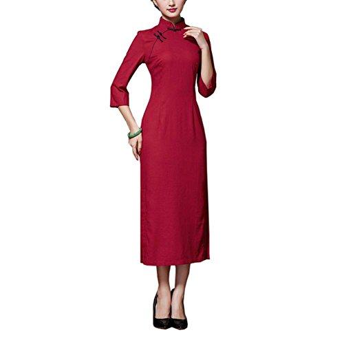 Black Temptation Chinesische traditionelle Stil Solid Color Kleid Cheongsam Qipao Party Kleider, ()