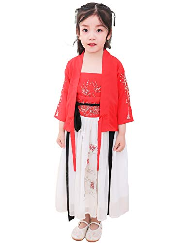 Mädchen Kleidung Hanfu, Chinesische Retro Hanfu Frauen Max Kleid Party Foto Rollenspiele Tanzleistung Chiffon Stickerei Druck,Red,M (Um Die Up Welt-dress Rund)