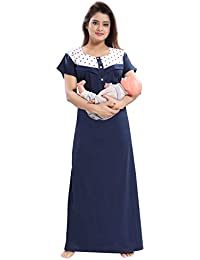 Fabme Women's Hosiery Cotton, Nursing, Feeding, Maternity Nighty - Zip Opening at Bust - Before and After Baby Multipurpose Night Dress