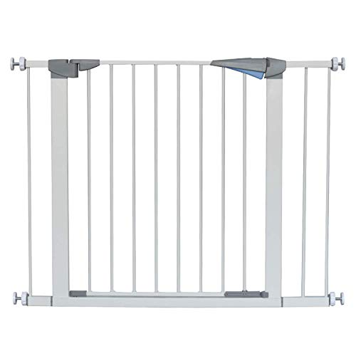 LEMKA Türgitter Baby Schutzgitter Treppe Treppengitter Auto-Close Metall Gittertür aus Metall,Baby Tür für Kindersicherheit,Einhand-Bedienung 7 & 14 cm Erweiterung für Treppen,99-107 cm Weiß
