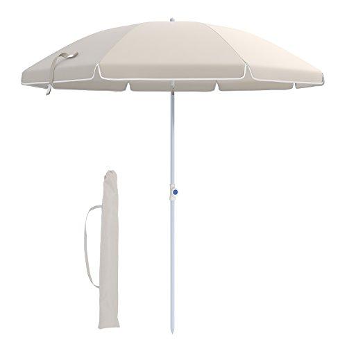 Songmics ombrellone 176 cm, parasole da spiaggia, protezione dal sole, tela in poliestere ottagonale, con meccanismo di reclinazione, borsa da trasporto, per spiaggia, giardino, balcone e cortile, beige, gpu16wt