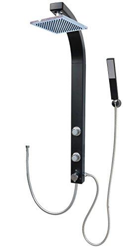 Duschpaneel Brausepaneel Duschsäule Duschsystem Komplettdusche große Regendusche mit 2 Massagedüsen, aus hochwertigem Kunststoff Duschgarnitur Handbrause Duschkopf Duscharmatur Schwarz