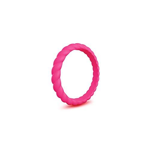 Tiamo Violet Thin Geflochtene Silikon-Ring für Frauen Trauringe Sports hypoallergen Gummi-Finger-Ring, 7, Rose Red (Camo Frauen Trauringe)