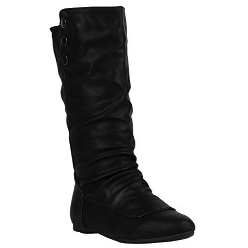 Damen Schuhe Schlupfstiefel Warm Gefütterte Stiefel Leder-Optik Boots 152238 Schwarz Amares Nieten 39 | Flandell®