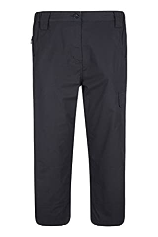 Mountain Warehouse Trek Women's Capri Trousers - Multiple Pockets, Lightweight, Fast Drying, Elastic Waistband, Adjustable Hem with Shrink & Fade Resistant Black 8
