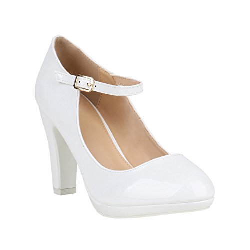 Damen Pumps Mary Janes Blockabsatz High Heels T-Strap 155275 Weiss Lack Agueda 36 Flandell