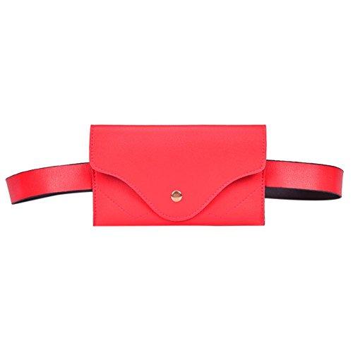 UEB Marsupio Donna Elegante Marsupio in Pelle PU Classico Semplice Marsupio alla Moda Portafoglio Casual (Rosso)