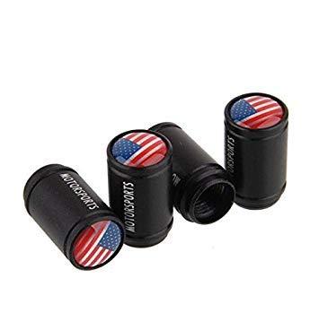 Ventilkappen USA, schwarz, 4 Stück, Ventil, Kappen wadle-shop ®