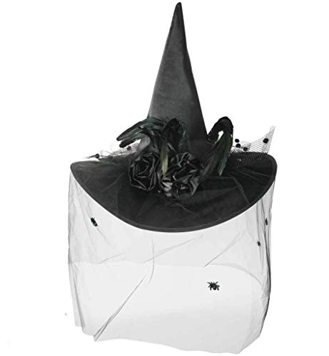 KarnevalsTeufel Luxus Hexenhut mit Schleier und Federbesatz Hexe (schwarz)
