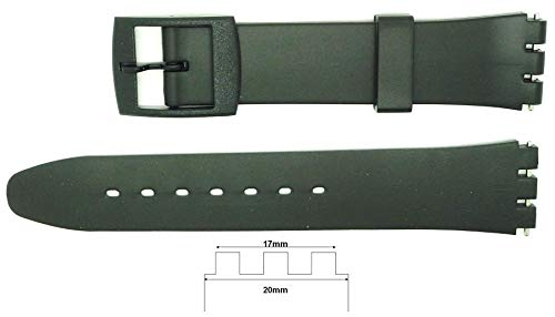 New 17mm (20mm) Sized Replacement Strap, Compatible for Swatch Watch -...