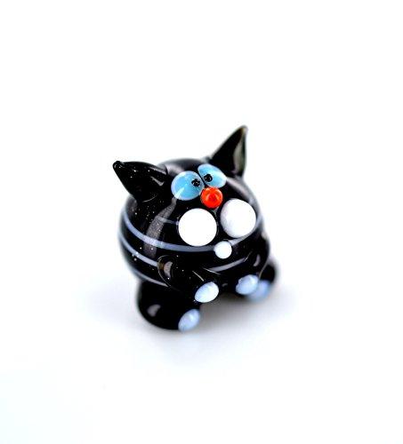 Unbekannt Gato de Rayas en Miniatura de Cristal Negro con Rayas-Figura Rayas Gatito Mini-Nº 2Cristal a Rayas Figura Negra setzkasten Decoración