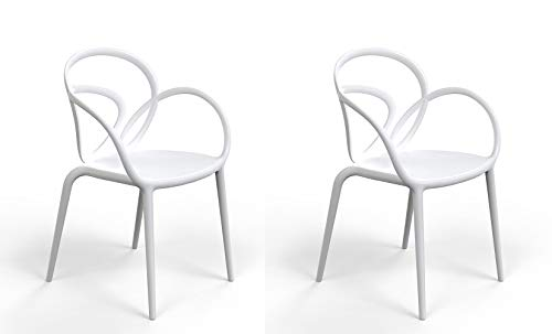 Qeeboo 30001WH Loop Set Sedie con Cuscino, Polipropilene, Bianco, 52x56x84 cm 2 unità