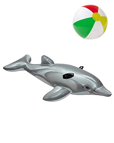 Aufblastier aufblasbare Reittier Tier Delphin Fisch Ride-On Schwimmtier Badeinsel Luftmatratze Schwimmliege Wasserspielzeug Spielzeug für Pool Planschbecken Kinderpool See Meer Fluß ideal für Kinder (Pool Fisch Aufblasbar)
