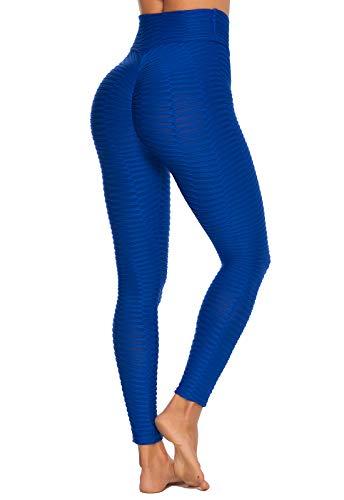 FITTOO Leggings Mallas Mujer Pantalones Deportivos Yoga Alta Cintura Elásticos y Transpirables1490#2 Azul Mediana