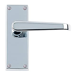 6 x Sets Victorian Straight Door Handles Lever Latch 120 x 40mm - Polished Chrome Premium Quality - Golden Grace