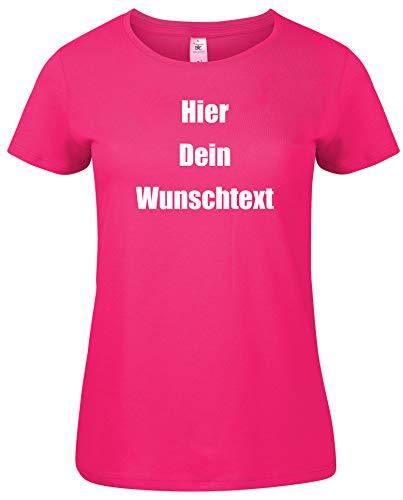 Damen T-Shirt Rundhals Bedrucken mit dem Amazon Tshirt Designer. T-Shirt selber gestalten. T-Shirt Druck. T-Shirt mit Wunschtext. T Shirts sind Ökotex-100 Zertifiziert. Pink M