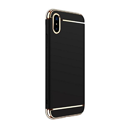 Ouneed® Für Iphone X Hülle ,3 in 1 Ultra-thin 360 Full Body Anti-Scratch Shockproof Hard PC Non-Slip Skin Smooth Back Cover Case with Electroplate Bumper For iPhone X (Schwarz) Schwarz