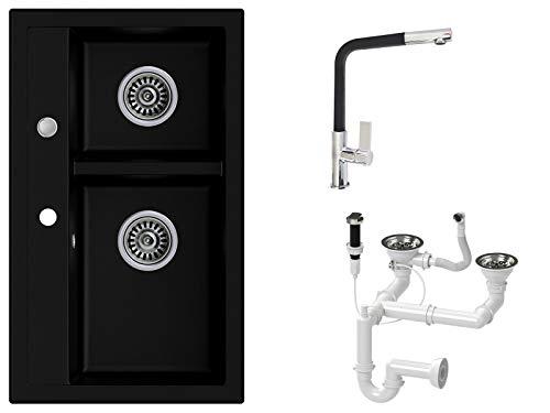 Granitspüle schwarz, Armatur 3000 - Hochdruck, 2-Becken, Drehexcenter + Siphon, Spülbecken, Küchenspüle, Schrankbreite ab 80 cm
